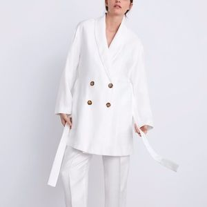 NEW ZARA WHITE LINEN DOUBLE BREASTED BELTED BLAZER